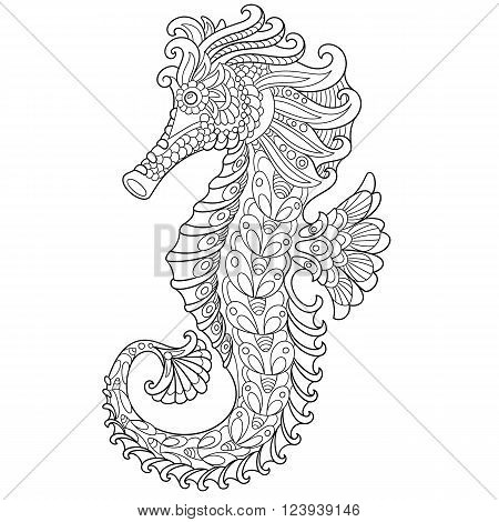 Zentangle stylized cartoon seahorse isolated on white background. Hand drawn sketch for adult antistress coloring page T-shirt emblem logo or tattoo with doodle zentangle floral design elements.