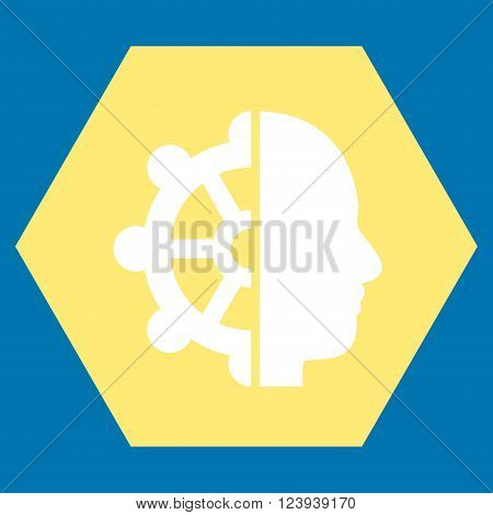 Intellect vector icon symbol. Image style is bicolor flat intellect icon symbol drawn on a hexagon with yellow and white colors.