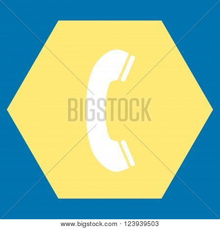 Phone Receiver vector icon symbol. Image style is bicolor flat phone receiver iconic symbol drawn on a hexagon with yellow and white colors.