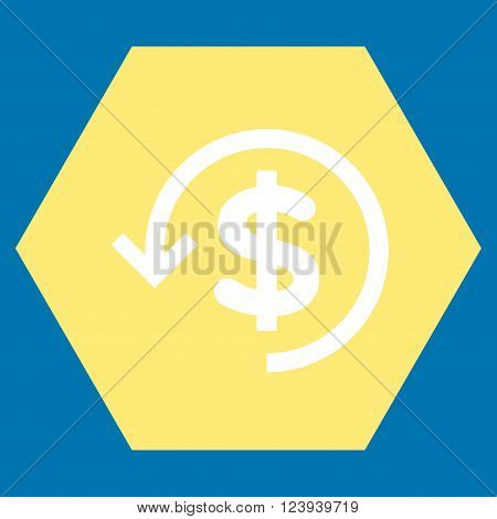 Refund vector icon symbol. Image style is bicolor flat refund pictogram symbol drawn on a hexagon with yellow and white colors.