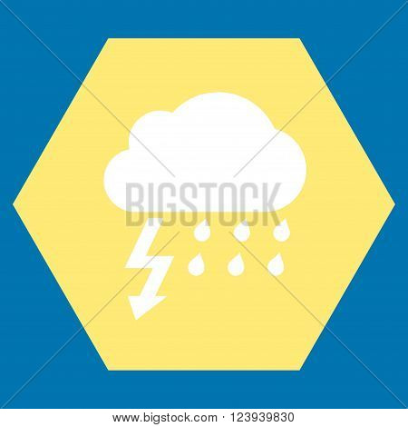 Thunderstorm vector pictogram. Image style is bicolor flat thunderstorm iconic symbol drawn on a hexagon with yellow and white colors.