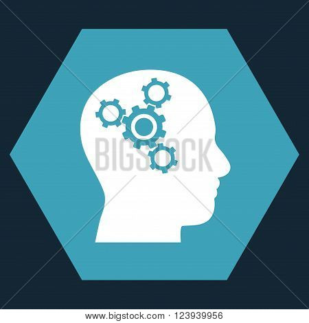 Brain Mechanics vector icon symbol. Image style is bicolor flat brain mechanics pictogram symbol drawn on a hexagon with blue and white colors.