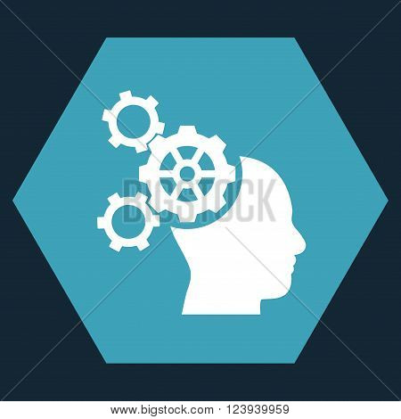Brain Mechanics vector pictogram. Image style is bicolor flat brain mechanics pictogram symbol drawn on a hexagon with blue and white colors.