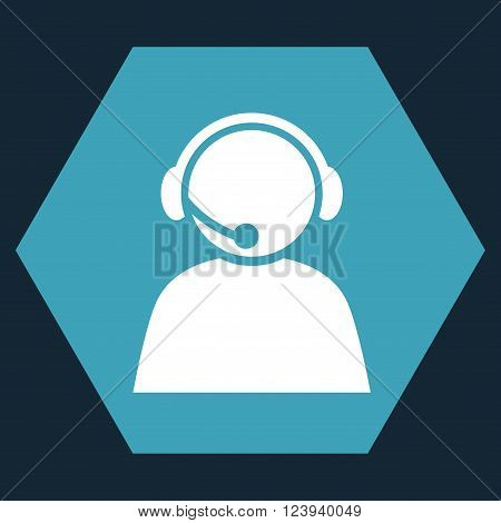 Call Center Operator vector pictogram. Image style is bicolor flat call center operator icon symbol drawn on a hexagon with blue and white colors.