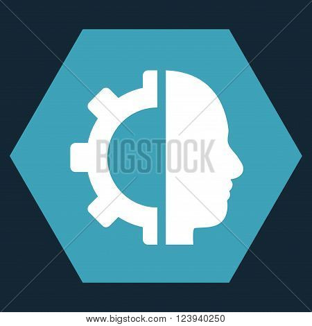 Cyborg Gear vector pictogram. Image style is bicolor flat cyborg gear iconic symbol drawn on a hexagon with blue and white colors.