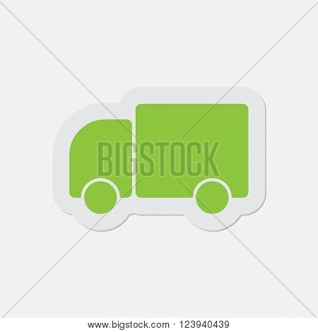 simple green icon with contour and shadow - lorry car on a white background