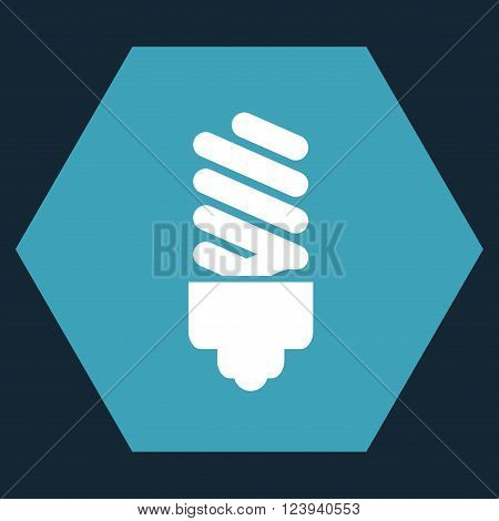 Fluorescent Bulb vector icon symbol. Image style is bicolor flat fluorescent bulb pictogram symbol drawn on a hexagon with blue and white colors.