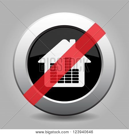 gray chrome button no house with equalizer symbol - banned icon