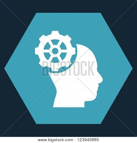 Head Gear vector symbol. Image style is bicolor flat head gear pictogram symbol drawn on a hexagon with blue and white colors.