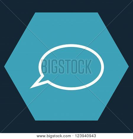 Hint Cloud vector pictogram. Image style is bicolor flat hint cloud pictogram symbol drawn on a hexagon with blue and white colors.