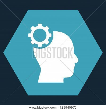 Intellect Gear vector icon symbol. Image style is bicolor flat intellect gear icon symbol drawn on a hexagon with blue and white colors.