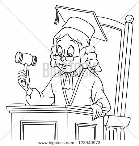 cute cartoon judge with a judge gavel in a hat and judge wig isolated on a white background