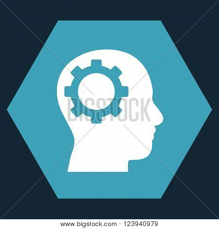 Intellect Gear vector pictogram. Image style is bicolor flat intellect gear iconic symbol drawn on a hexagon with blue and white colors.