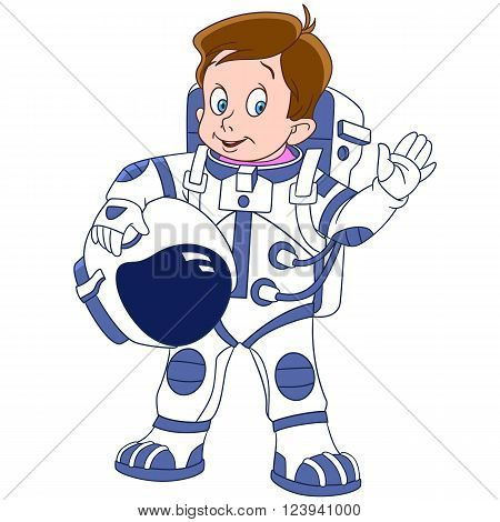 cute and happy cartoon boy astronaut (spaceman cosmonaut) waving his hand isolated on a white background