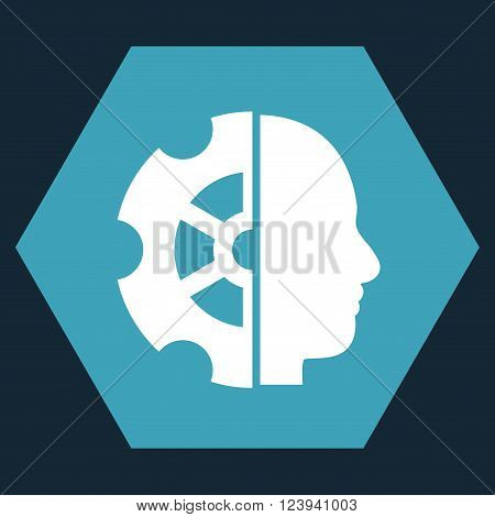 Intellect vector pictogram. Image style is bicolor flat intellect icon symbol drawn on a hexagon with blue and white colors.