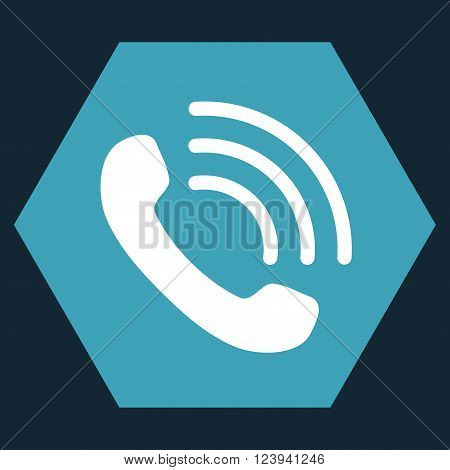 Phone Call vector symbol. Image style is bicolor flat phone call icon symbol drawn on a hexagon with blue and white colors.