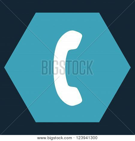 Phone Receiver vector pictogram. Image style is bicolor flat phone receiver icon symbol drawn on a hexagon with blue and white colors.