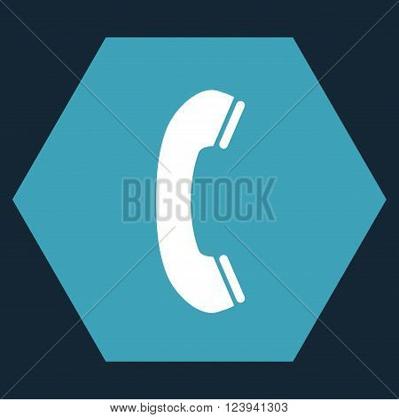 Phone Receiver vector symbol. Image style is bicolor flat phone receiver icon symbol drawn on a hexagon with blue and white colors.