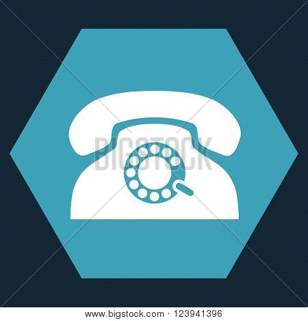 Pulse Phone vector symbol. Image style is bicolor flat pulse phone iconic symbol drawn on a hexagon with blue and white colors.
