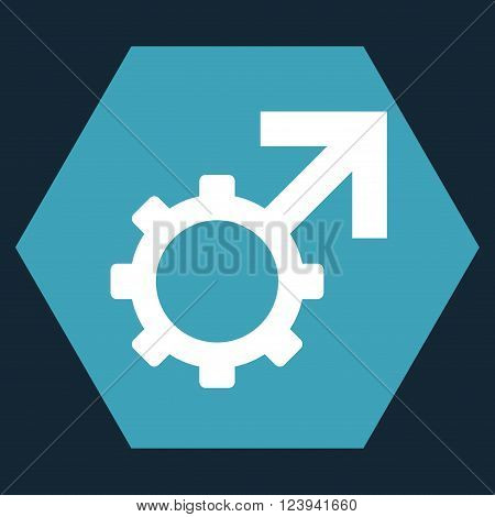 Technological Potence vector pictogram. Image style is bicolor flat technological potence iconic symbol drawn on a hexagon with blue and white colors.