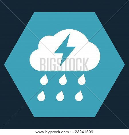 Thunderstorm vector pictogram. Image style is bicolor flat thunderstorm pictogram symbol drawn on a hexagon with blue and white colors.