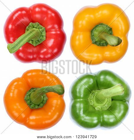 Collection Of Paprika Paprikas Top View Vegetable Isolated On White