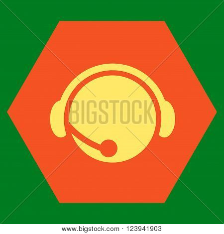 Call Center Operator vector icon symbol. Image style is bicolor flat call center operator icon symbol drawn on a hexagon with orange and yellow colors.