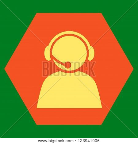 Call Center Operator vector symbol. Image style is bicolor flat call center operator icon symbol drawn on a hexagon with orange and yellow colors.