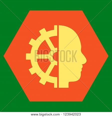 Cyborg Gear vector pictogram. Image style is bicolor flat cyborg gear icon symbol drawn on a hexagon with orange and yellow colors.