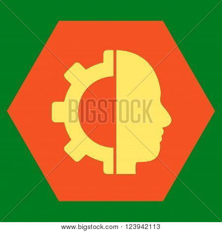 Cyborg Gear vector icon. Image style is bicolor flat cyborg gear icon symbol drawn on a hexagon with orange and yellow colors.