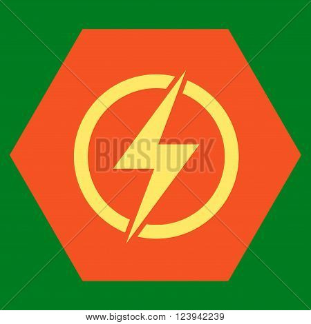 Electricity vector symbol. Image style is bicolor flat electricity icon symbol drawn on a hexagon with orange and yellow colors.