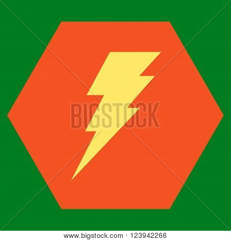 Execute vector pictogram. Image style is bicolor flat execute icon symbol drawn on a hexagon with orange and yellow colors.