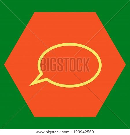 Hint Cloud vector symbol. Image style is bicolor flat hint cloud iconic symbol drawn on a hexagon with orange and yellow colors.