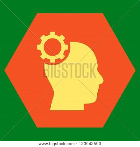 Intellect Gear vector symbol. Image style is bicolor flat intellect gear icon symbol drawn on a hexagon with orange and yellow colors.