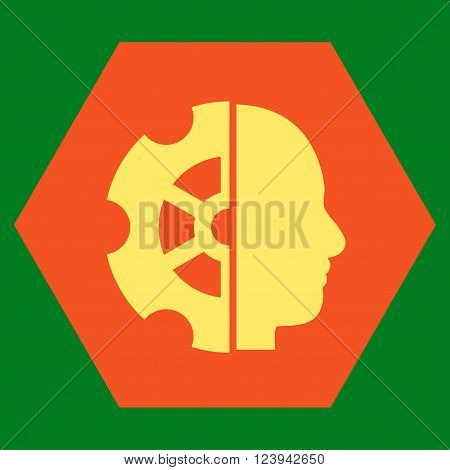 Intellect vector symbol. Image style is bicolor flat intellect iconic symbol drawn on a hexagon with orange and yellow colors.