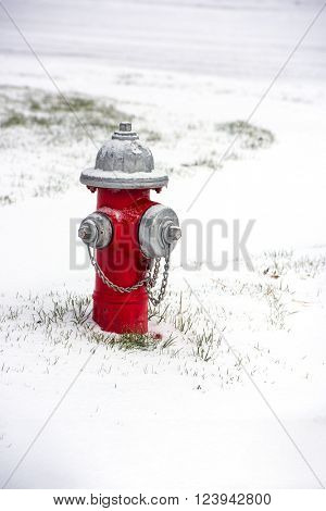 A red fire hydrant covered in snow