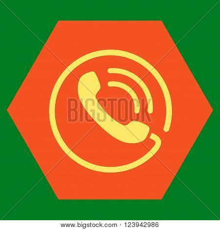 Phone Call vector icon. Image style is bicolor flat phone call pictogram symbol drawn on a hexagon with orange and yellow colors.