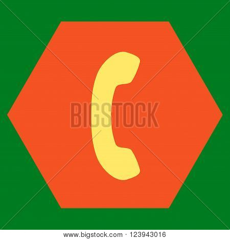 Phone Receiver vector icon symbol. Image style is bicolor flat phone receiver pictogram symbol drawn on a hexagon with orange and yellow colors.