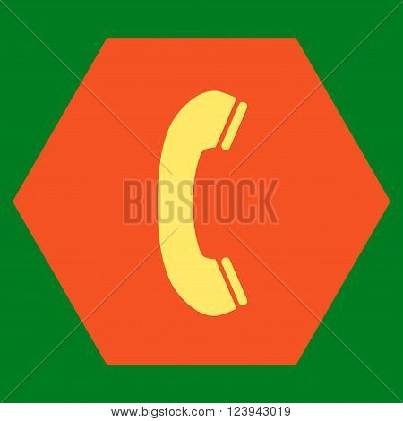 Phone Receiver vector symbol. Image style is bicolor flat phone receiver icon symbol drawn on a hexagon with orange and yellow colors.