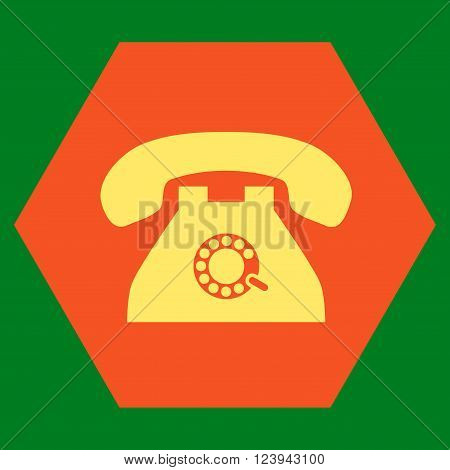 Pulse Phone vector symbol. Image style is bicolor flat pulse phone pictogram symbol drawn on a hexagon with orange and yellow colors.