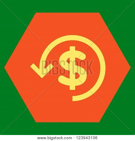 Refund vector icon symbol. Image style is bicolor flat refund iconic symbol drawn on a hexagon with orange and yellow colors.