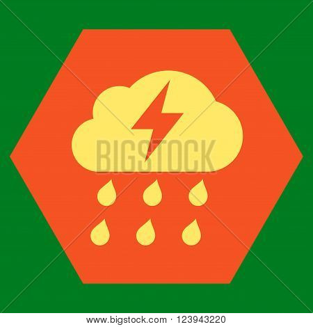 Thunderstorm vector icon symbol. Image style is bicolor flat thunderstorm icon symbol drawn on a hexagon with orange and yellow colors.
