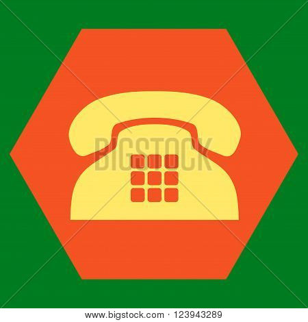 Tone Phone vector pictogram. Image style is bicolor flat tone phone pictogram symbol drawn on a hexagon with orange and yellow colors.
