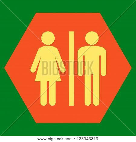 WC Persons vector symbol. Image style is bicolor flat WC persons pictogram symbol drawn on a hexagon with orange and yellow colors.