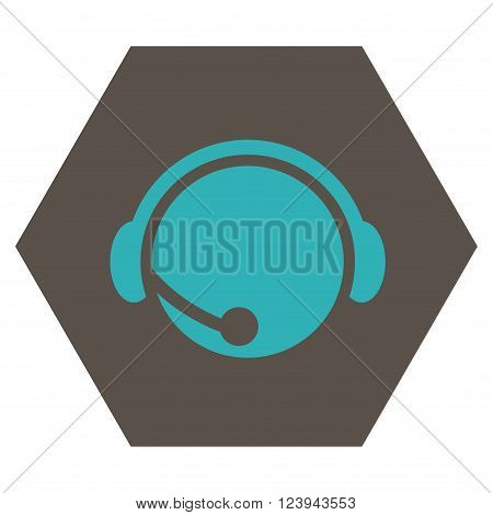 Call Center Operator vector icon. Image style is bicolor flat call center operator icon symbol drawn on a hexagon with grey and cyan colors.