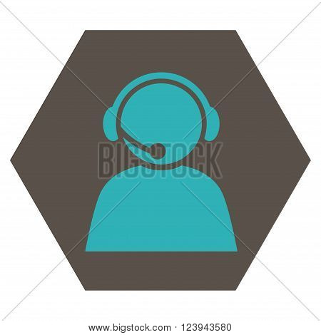 Call Center Operator vector symbol. Image style is bicolor flat call center operator icon symbol drawn on a hexagon with grey and cyan colors.
