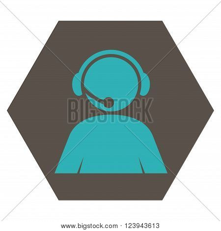 Call Center Operator vector icon. Image style is bicolor flat call center operator iconic symbol drawn on a hexagon with grey and cyan colors.