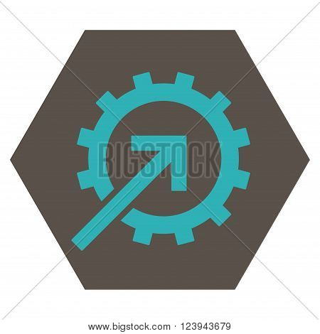 Cog Integration vector pictogram. Image style is bicolor flat cog integration icon symbol drawn on a hexagon with grey and cyan colors.
