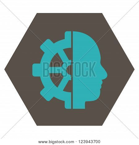 Cyborg Gear vector symbol. Image style is bicolor flat cyborg gear pictogram symbol drawn on a hexagon with grey and cyan colors.