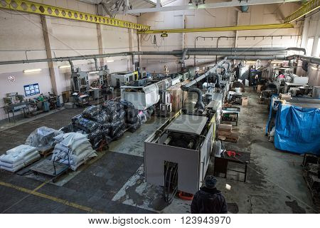 Saint-Petersburg Russia - March 23 2016: Aerial view of the machine factory production line. A number of automated lathes and milling machines.
